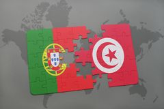 puzzle with the national flag of portugal and tunisia on a world map background. Stock Photos