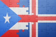 Puzzle with the national flag of puerto rico and iceland Royalty Free Stock Photography