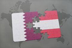Puzzle with the national flag of qatar and austria on a world map background. 3D illustration Royalty Free Stock Photo