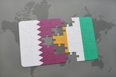 Puzzle with the national flag of qatar and cote divoire on a world map background. 3D illustration Royalty Free Stock Images