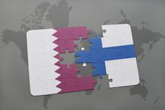 Puzzle with the national flag of qatar and finland on a world map background. 3D illustration Stock Photos