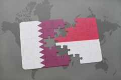 puzzle with the national flag of qatar and indonesia on a world map background. vector illustration