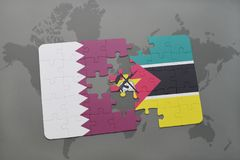 Puzzle with the national flag of qatar and mozambique on a world map background. 3D illustration Royalty Free Stock Photography