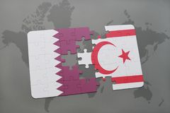 Puzzle with the national flag of qatar and northern cyprus on a world map background. Stock Photos