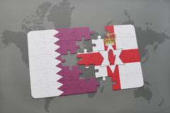 Puzzle with the national flag of qatar and northern ireland on a world map background. 3D illustration Royalty Free Stock Photos