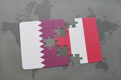Puzzle with the national flag of qatar and peru on a world map background. 3D illustration stock photo
