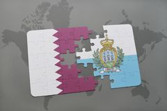 Puzzle with the national flag of qatar and san marino on a world map background. Royalty Free Stock Image