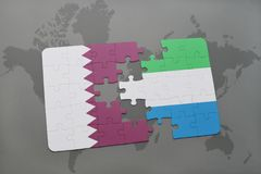 puzzle with the national flag of qatar and sierra leone on a world map background. Royalty Free Stock Photography