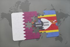 Puzzle with the national flag of qatar and swaziland on a world map background. Stock Image