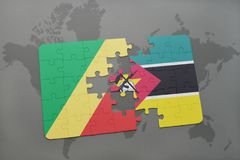 Puzzle with the national flag of republic of the congo and mozambique on a world map Royalty Free Stock Images