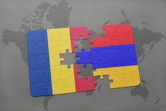 Puzzle with the national flag of romania and armenia on a world map background. Royalty Free Stock Photos