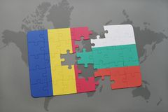 puzzle with the national flag of romania and bulgaria on a world map background. Royalty Free Stock Images
