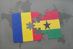 puzzle with the national flag of romania and ghana on a world map Royalty Free Stock Images