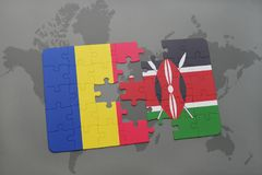Puzzle with the national flag of romania and kenya on a world map. Background. 3D illustration royalty free stock photos