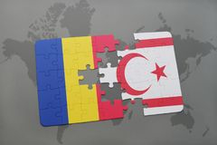 Puzzle with the national flag of romania and northern cyprus on a world map. Background. 3D illustration Royalty Free Stock Photography