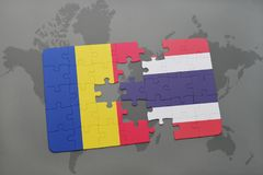 Puzzle with the national flag of romania and thailand on a world map. Background. 3D illustration royalty free stock images