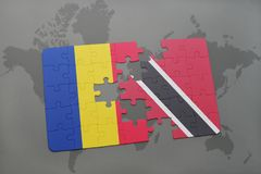 Puzzle with the national flag of romania and trinidad and tobago on a world map. Background. 3D illustration Stock Images