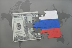 Puzzle with the national flag of russia and dollar banknote on a world map background. 3D illustration Royalty Free Stock Image