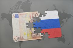 Puzzle with the national flag of russia and euro banknote on a world map background. 3D illustration Royalty Free Stock Photos
