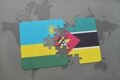 Puzzle with the national flag of rwanda and mozambique on a world map. Background. 3D illustration Royalty Free Stock Photos