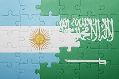 Puzzle with the national flag of saudi arabia and argentina Royalty Free Stock Photos