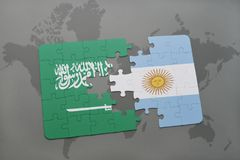 Puzzle with the national flag of saudi arabia and argentina on a world map background. Royalty Free Stock Photography