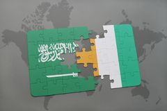 Puzzle with the national flag of saudi arabia and cote divoire on a world map background. 3D illustration Royalty Free Stock Image
