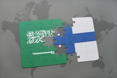 Puzzle with the national flag of saudi arabia and finland on a world map background. Stock Images