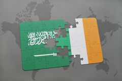 puzzle with the national flag of saudi arabia and ireland on a world map background. Stock Photos