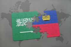 Puzzle with the national flag of saudi arabia and liechtenstein on a world map background. Stock Image
