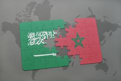 Puzzle with the national flag of saudi arabia and morocco on a world map background. 3D illustration royalty free stock image