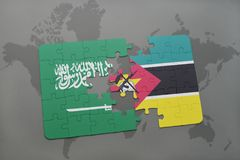 Puzzle with the national flag of saudi arabia and mozambique on a world map background. 3D illustration Stock Photos