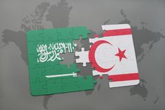 Puzzle with the national flag of saudi arabia and northern cyprus on a world map background. Stock Image
