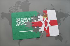Puzzle with the national flag of saudi arabia and northern ireland on a world map background. 3D illustration Royalty Free Stock Photo