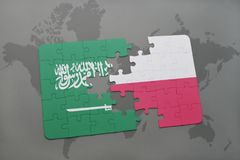Puzzle with the national flag of saudi arabia and poland on a world map background. 3D illustration stock images