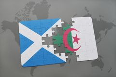 Puzzle with the national flag of scotland and algeria on a world map. Background. 3D illustration Royalty Free Stock Photo
