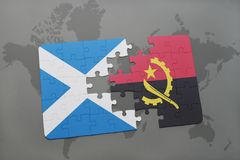 Puzzle with the national flag of scotland and angola on a world map. Background. 3D illustration Royalty Free Stock Images