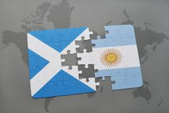 Puzzle with the national flag of scotland and argentina on a world map. Background. 3D illustration Stock Photography