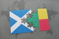 Puzzle with the national flag of scotland and benin on a world map. Background. 3D illustration Stock Photography