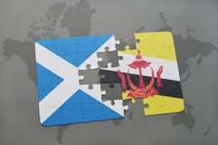 puzzle with the national flag of scotland and brunei on a world map Stock Photography