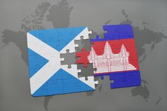 puzzle with the national flag of scotland and cambodia on a world map Stock Image