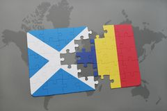 Puzzle with the national flag of scotland and chad on a world map. Background. 3D illustration Royalty Free Stock Images