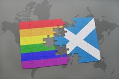Puzzle with the national flag of scotland and gay rainbow flag on a world map background. 3D illustration stock photography
