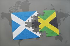 Puzzle with the national flag of scotland and jamaica on a world map. Background. 3D illustration Stock Photography