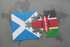 Puzzle with the national flag of scotland and kenya on a world map Royalty Free Stock Images