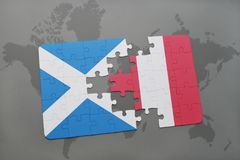 Puzzle with the national flag of scotland and peru on a world map. Background. 3D illustration stock photography