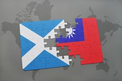 Puzzle with the national flag of scotland and taiwan on a world map. Background. 3D illustration Stock Photo