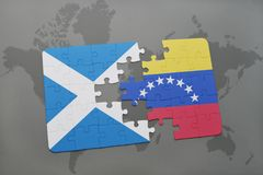 Puzzle with the national flag of scotland and venezuela on a world map Royalty Free Stock Photo
