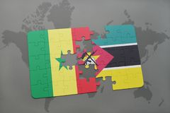 Puzzle with the national flag of senegal and mozambique on a world map. Background. 3D illustration Royalty Free Stock Photography