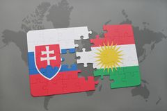 Puzzle with the national flag of slovakia and kurdistan on a world map. Background. 3D illustration Stock Images